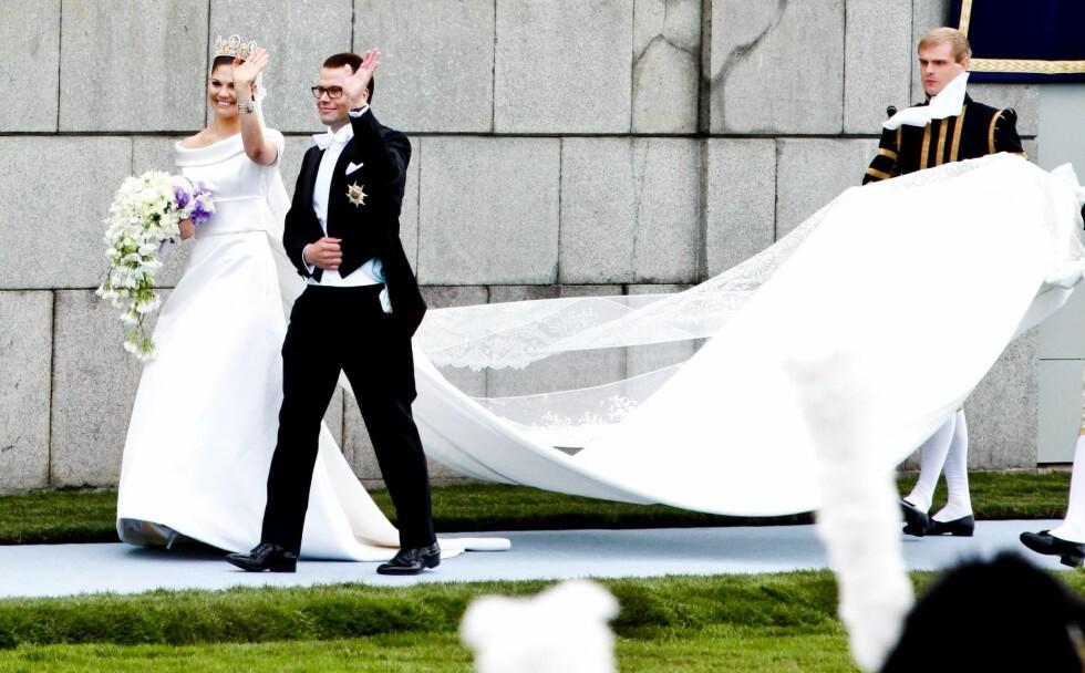 STOR BEGIVENHET: Kronprinsesse Victoria og prins Daniel giftet seg i Storkyrkan i Stockholm den 19. juni 2010. Det norske kongeparet var dengang blant gjestene, siden kronprinsessen er tronfølger i Sverige. Foto: Aftenposten