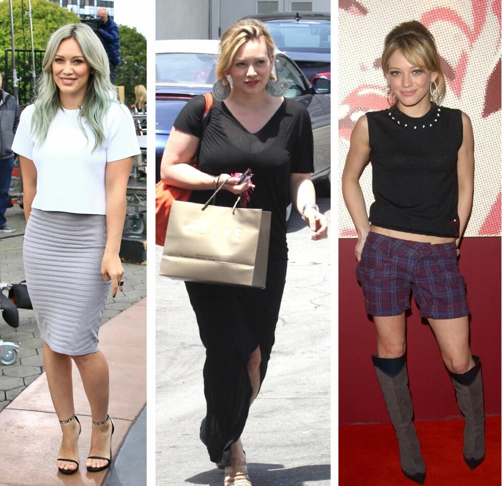 NÅ OG DA: Hilary har gått opp og ned i vekt i løpet av årene - slik som de aller fleste gjør. I dag (t.v) trives hun med hvordan hun ser ut, mens hun synes hun var for tynn i som 17-åring i 2005 (t.h). Bildet i midten er fra 2012.  Foto: NTBscanpix