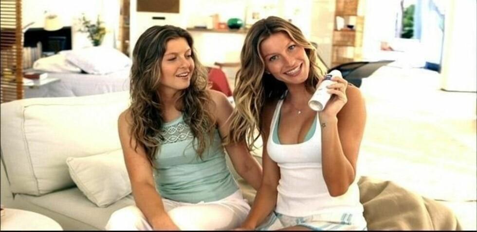 SØTE SØSTRE: Her er Gisele og hennes toeggende tvillingsøster Patricia sammen i en reklame for Nivea for noen år siden. Foto: Stella Pictures
