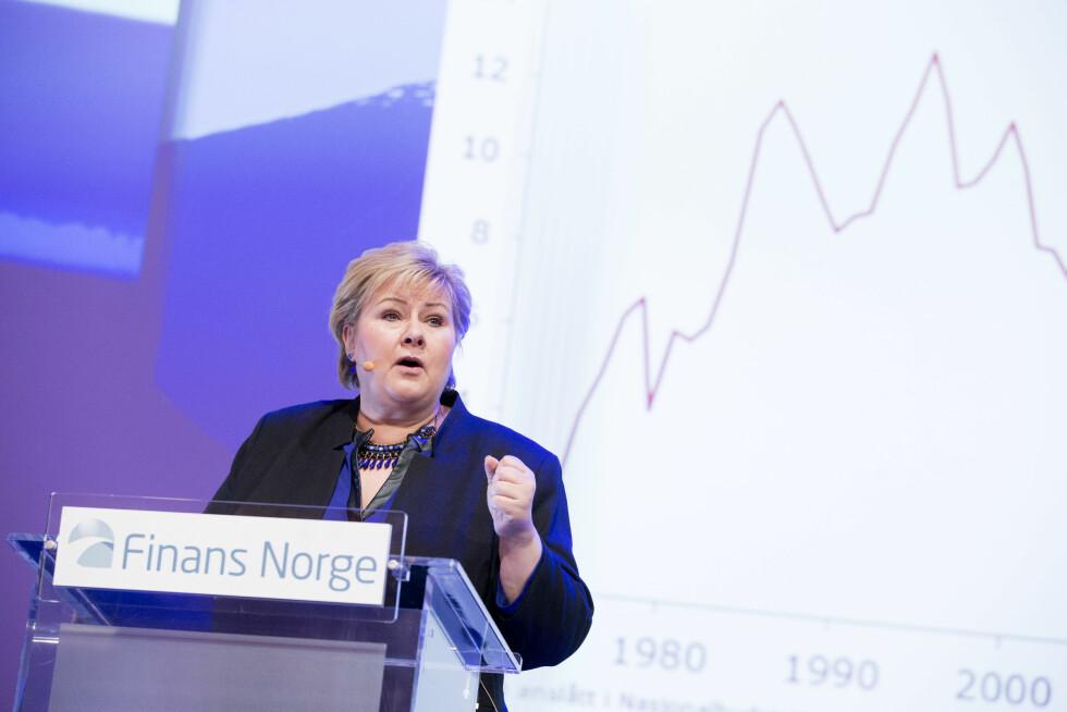 ARBEIDSSOM: Erna Solberg har vært statsminister i Norge siden 2013. Her under Finansnæringens dag i Oslo tidligere i år. Foto: NTB scanpix