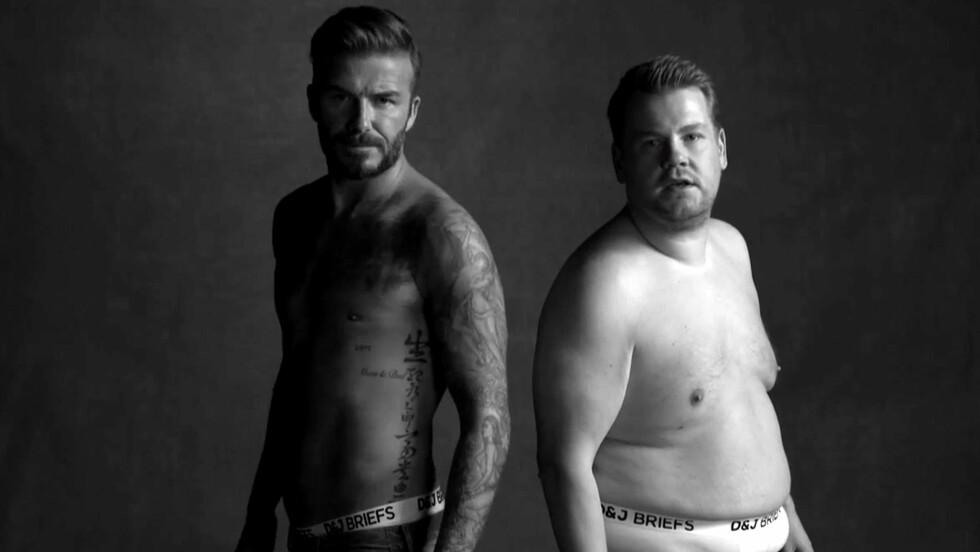 PARODIEN: David Beckham var med på spøken, da James Corden parodierte undertøyskongen i talkshowet The Late Late show mandag kveld.  Foto: All Over Press