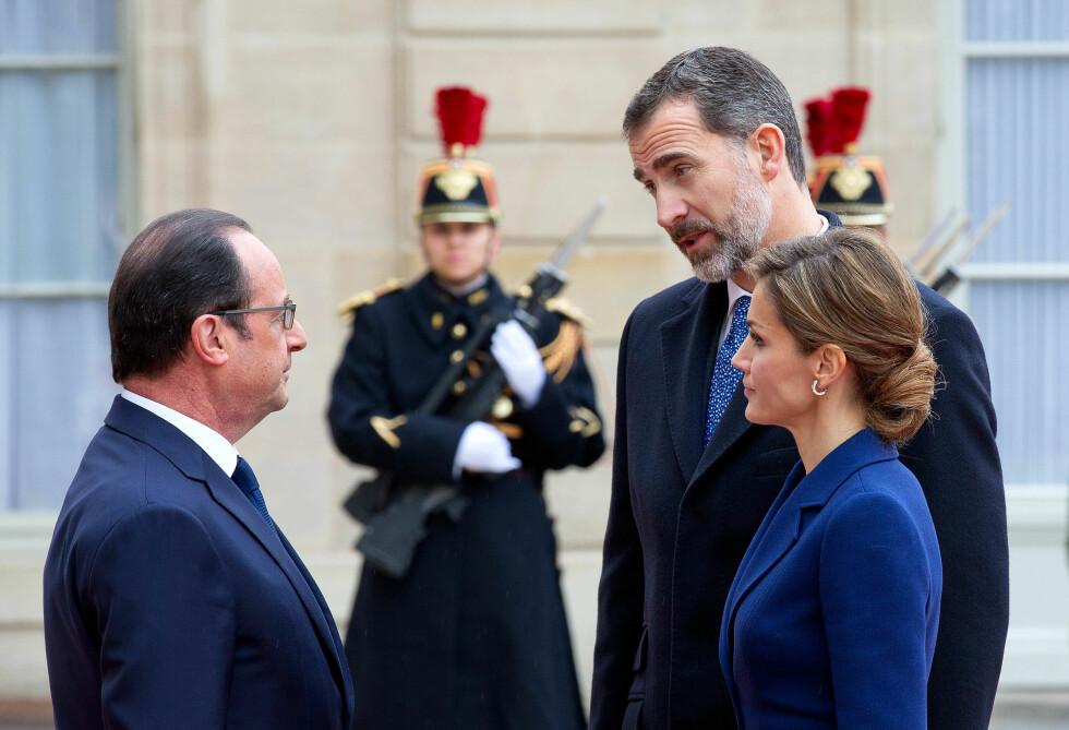 BLE ENIGE: Både Frankrikes president Francois Hollande og det spanske kongeparet ble enige om å avlyse statsbesøket, og heller ta det igjen ved en senere anledning. Foto: action press/All Over Press