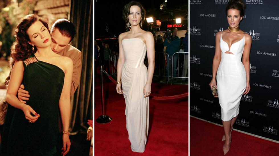LIKE FLOTT ETTER TI ÅR: I 2004 fikk Kate Beckinsale blodet til Leonardo DiCaprios rollefigur, Howard Hughes, til å bruse i «The Aviator». På filmens L.A.-premiere (midten) var hun riktig flott, men på lansering i London ti år senere (t.h) formelig strålte hun. Foto: Stella Pictures/All Over Press