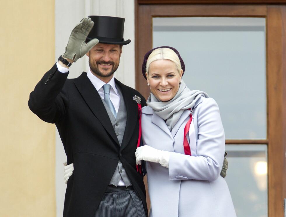 17. MAI: Mette-Marit og Haakon på Slottsbalkongen 17. mai Foto: Andreas Fadum