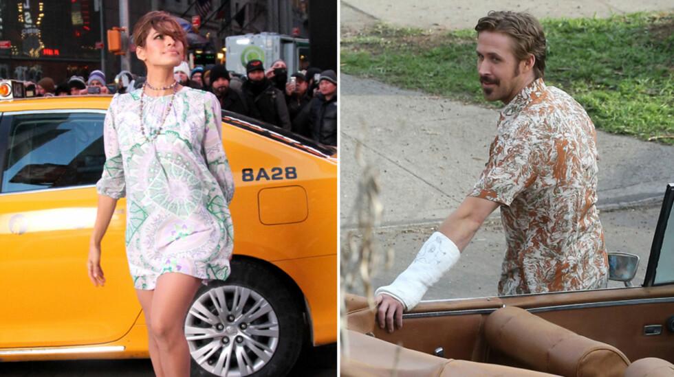 TRAVELT PAR: Foreldreparet Eva Mendes og Ryan Gosling på innspilling ved hver sin bil - hun på reklamefilmsettet i New York tirsdag, han på «The Nice Guys»-filmsettet i L.A. i januar. Foto: Stella Pictures