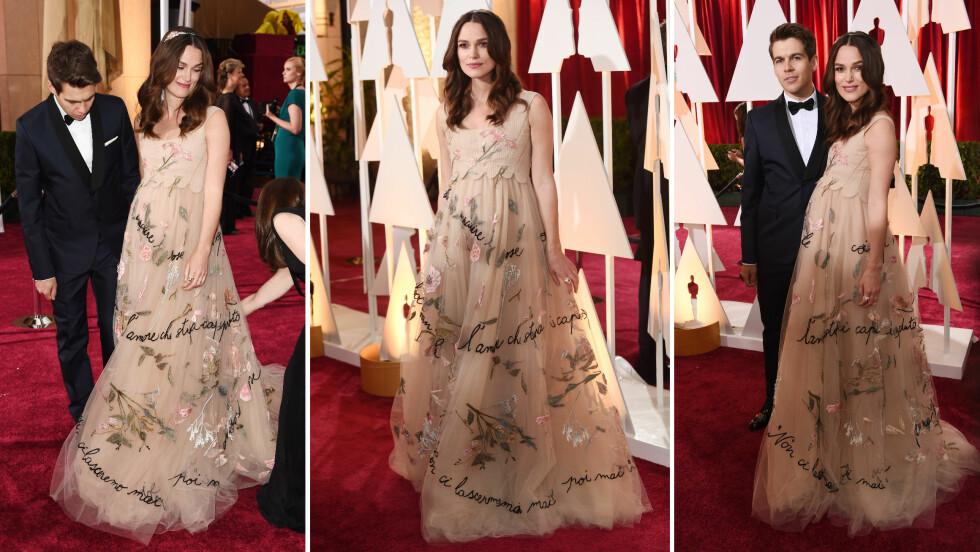 I VALENTINO: Keira Knightley er gravid med sitt første barn, hun kom på Oscar i en kjole fra Valntino. Foto: All Over Press