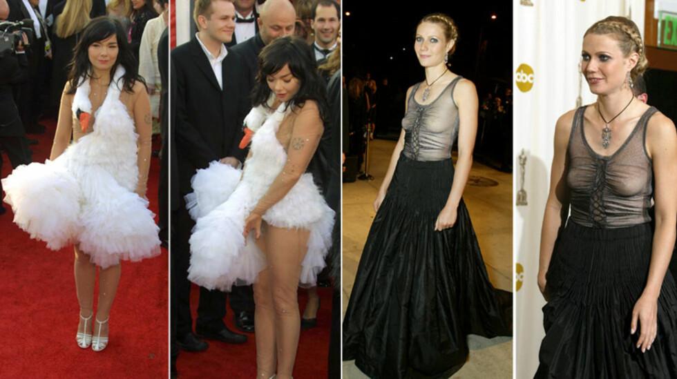 KJENTE KJOLER: Artisten Björk iførte seg en svanekjole på Oscar-utdelingen i 2001, som raskt gikk inn på listen over tidenes mest minneverdige Oscar-kjoler. Året etter var Gwyneth Paltrow kledd i en uflatterende goth-inspirert kjole - som kanskje kunne blitt reddet av bedre styling - og en BH.  Foto: All Over Press
