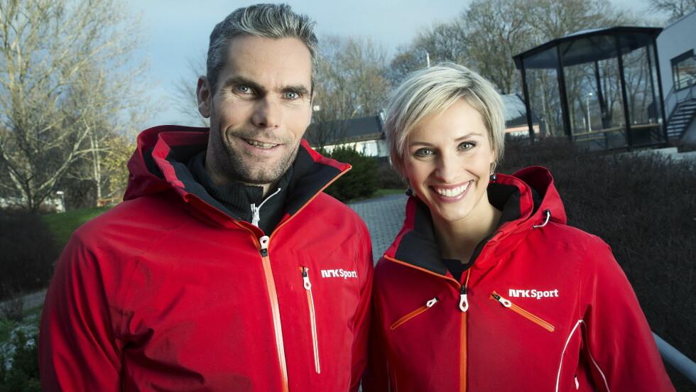 BRA TEAM: Thomas Alsgaard og Anne Rimmen leder NRKs kveldssendinger fra ski-VM i Falun.  Foto: Julia Marie Naglestad/NRK