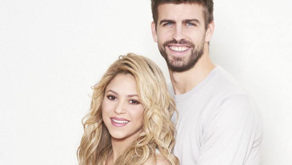 LYKKELIG FAMILIE: Forrige uke ble Shakira og fotballstjernen Gerard Piqué foreldre til sønn nummer to. Kort tid før fødselen oppfordret paret, som samtidig publiserte blant annet dette bildet, fansen til å delta i Unicef World Baby Shower - ved å kjøpe veldedighetsgaver fra UNICEF til barn i nød.  Foto: Stella Pictures