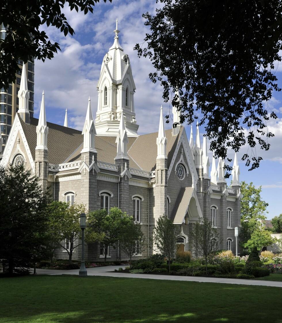 GRØNNE OMGIVELSER: Assembly Hall i Temple Square, Salt Lake City. Foto: IMAGO/ All Over Press