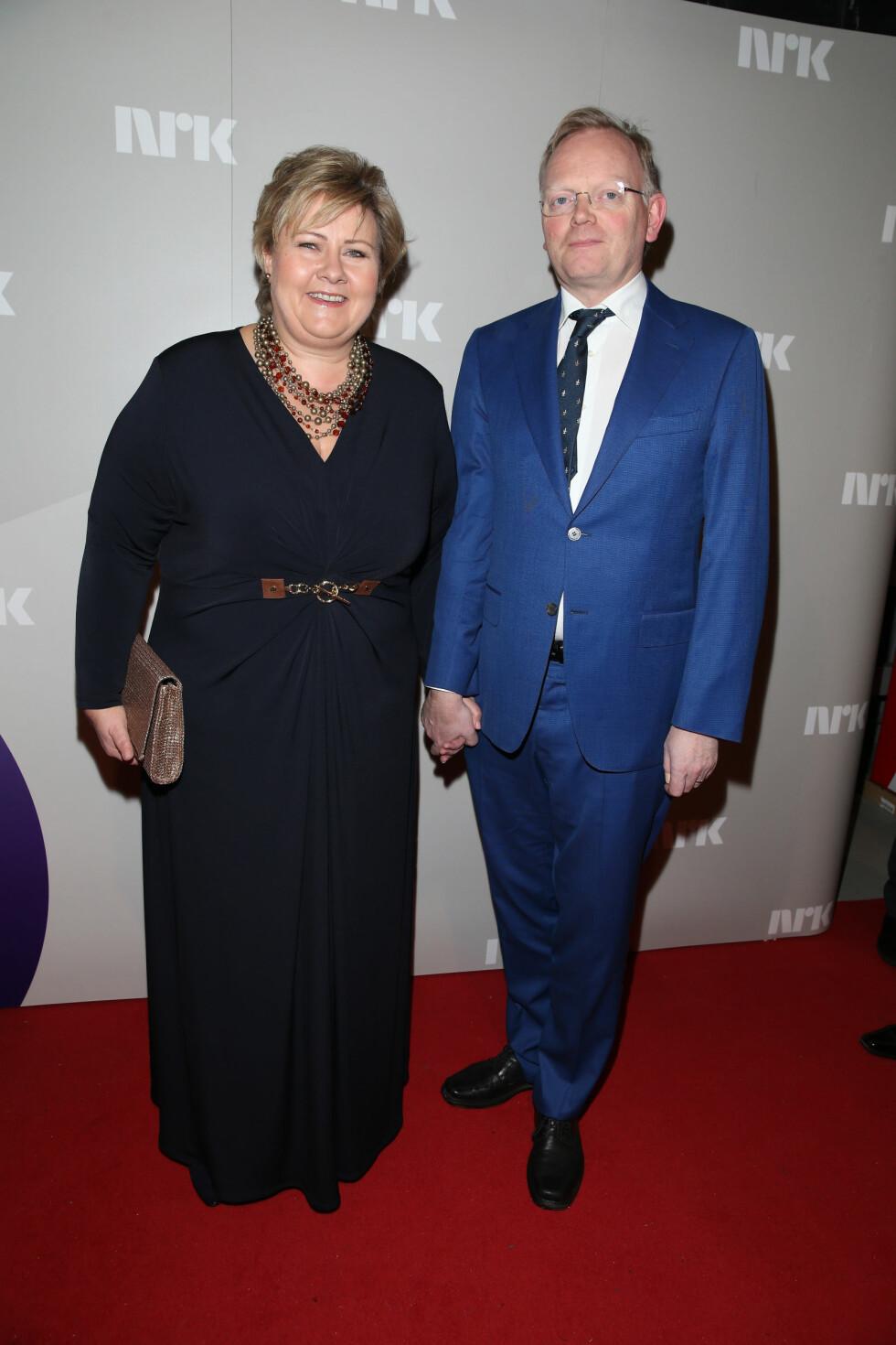 Statsminister Erna Solberg med ektemannen Sindre Finnes. Foto: Andreas Fadum/Se og Hør