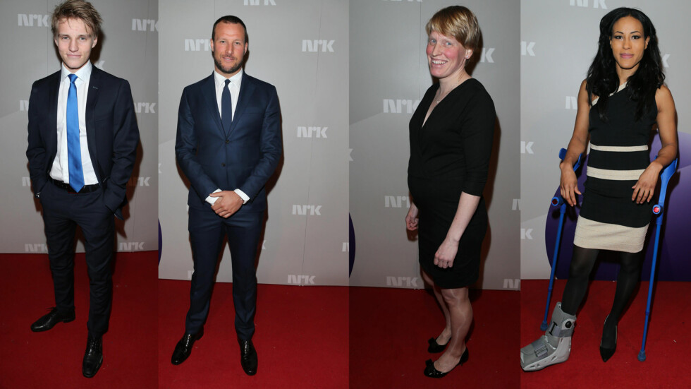 PYNTEDE KJENDISER: Martin Ødegaard, Aksel Lund Svindal, Tora Berger og Cecilia Brækhus under Idrettsgallaen 2015.  Foto: Andreas Fadum/Se og Hør