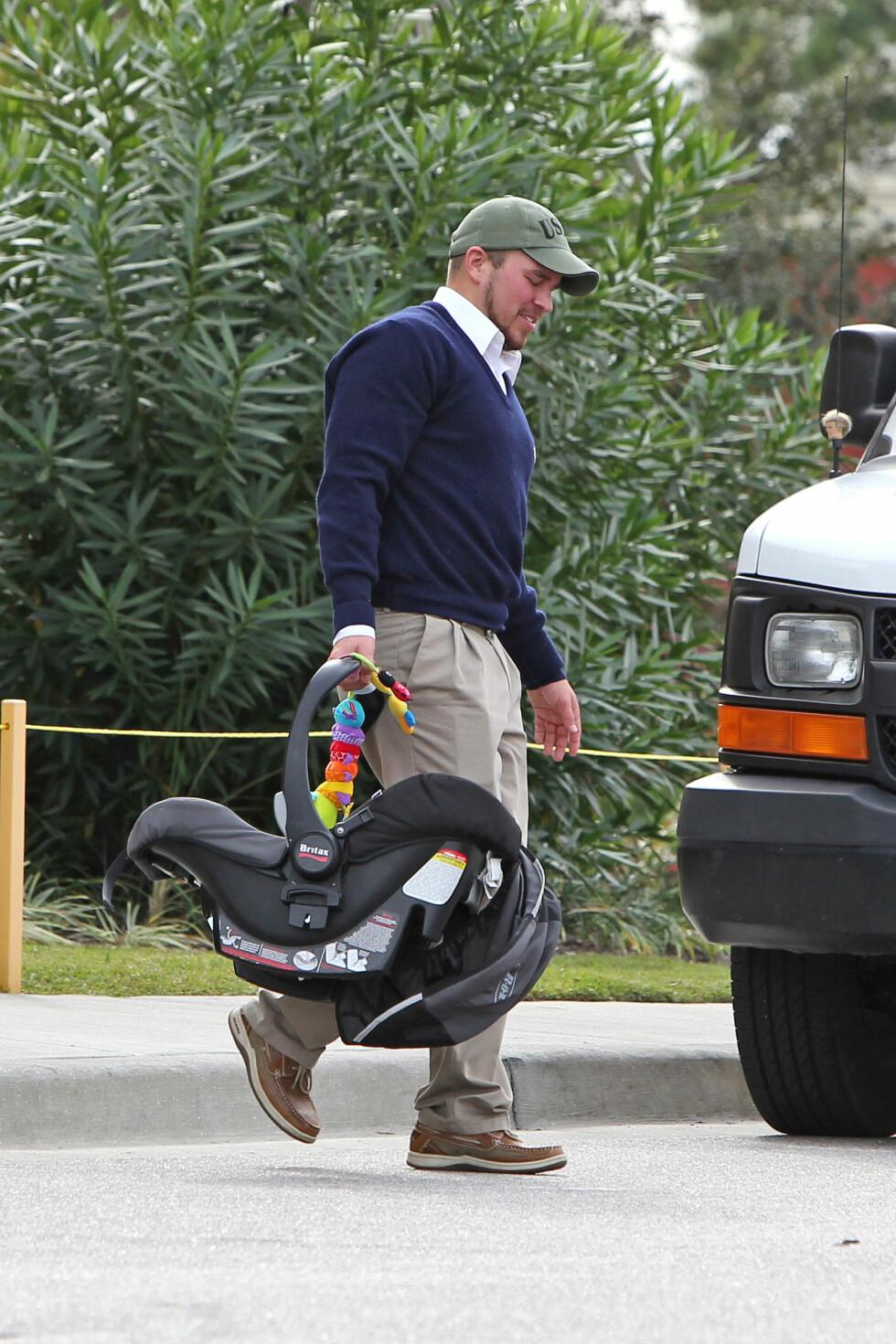 BLE FORELDRE: Nathan Griffiths ble pappa til Kaiser i juni i fjor. Foto: All Over Press