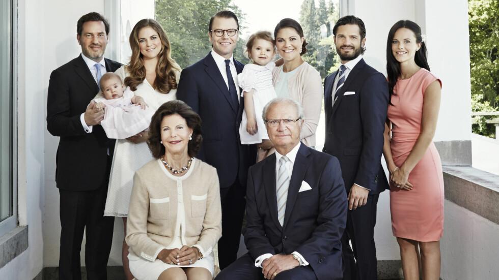 NYTT MEDLEM: Prins Carl Philips forlovede, Sofia Hellqvist, er med for første gang på nyttårsbildet til den svenske kongefamilien. Foto: Anna-Lena Ahlström/Kungahuset.se