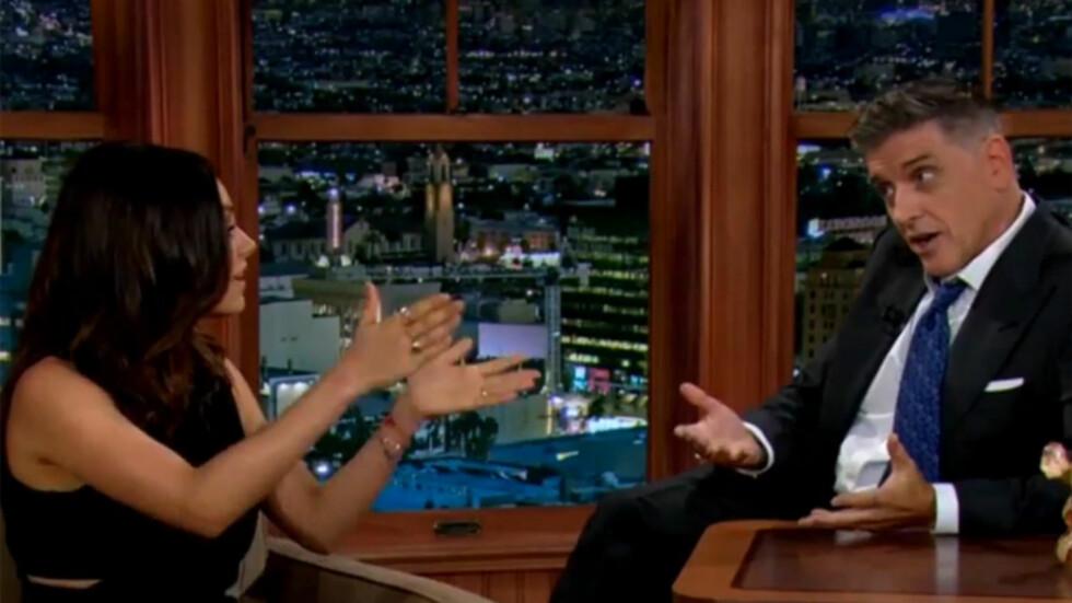 GJORDE COMEBACK: Mila Kunis fortalte talkshow-verten Craig Ferguson at amming holder henne slank, da hun viste seg på TV for første gang etter fødselen for to måneder siden. Foto: The Late Late Show