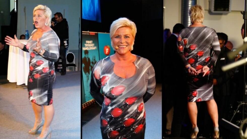 LEPPESTIFT: Siv Jensen vakte oppsikt under fjorårets valgvake da hun ankom i denne kjolen. Nå gjør Hollywood-stjernene det samme.  Foto: Scanpix