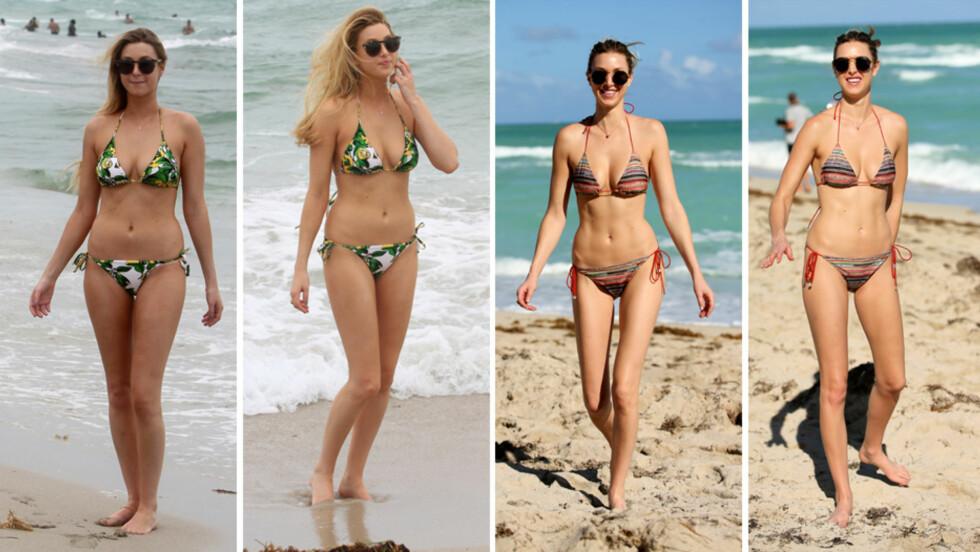 SYLSLANK STJERNE: Designeren og TV-stjernen Whitney Port viste frem formene sommeren 2012 (t.v). Men denne uken fikk hun nok de fleste til virkelig å sperre øynene opp, da hun dukket opp med en svært slank figur og tydelige magemuskler på stranden i Miami. Foto: Splash News/ All Over Press