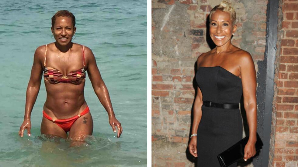 VELTRENT: Jada Pinkett-Smiths mor Adrienne Banfield-Jones viste en kropp mange langt yngre kvinner vil misunne henne, da hun dro på stranden. Foto: All Over Press
