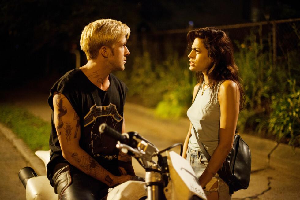 PÅ LERRETET: I filmen The Place Beyond the Pines har Ryan og Eva et turbulent forhold. I det virkelige liv skal paret også ha vært frem og tilbake som kjærester flere ganger før de ble foreldre sammen i september. Foto: All Over Press