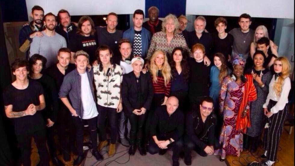 VERDENSSTJERNER: Det er en imponerende bukett med artister som bidrar på årets Band Aid-låt. Foto: Band Aid
