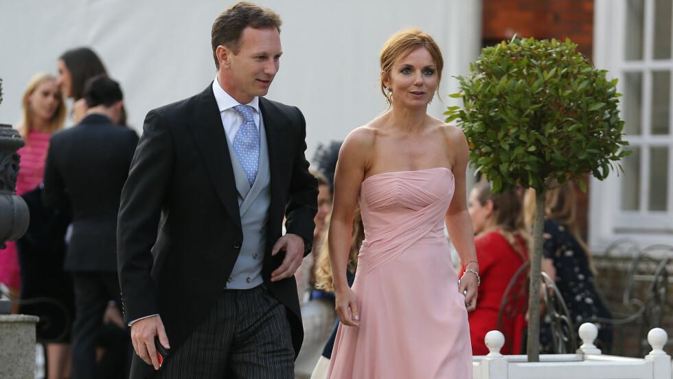 KLAR FOR KIRKEKLOKKER: Geri Halliwell har forlovet seg med Formel 1-teamlederen Christian Horner, et halvt år etter at paret var gjester i det stjernespekkede bryllupet til Poppy Delevingne og James Cook i England. Foto: Stella Pictures