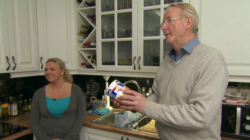 <strong>SIER NEI TIL INDUSTRIKJØTT:</strong> Eyvind Hellstrøm ser rødt når han får høre at Vibeke og Stian ofte spiser boksemat til middag. Foto: TV3