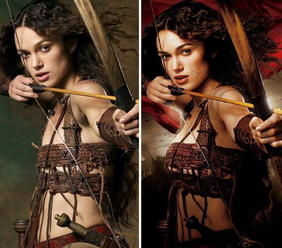 SKUFFET: Keira ble ikke begeistret da hun så hvordan filmplakaten av King Arthur så ut etter at de gjorde brystene hennes større. Foto: All Over Press