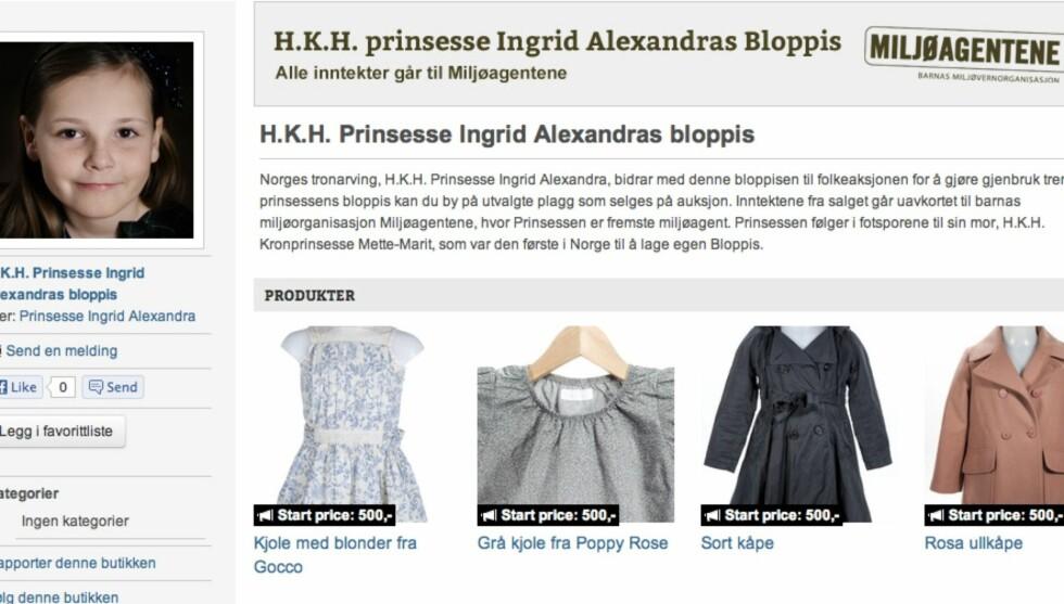 KONGELIG GARDEROBE: Nå kan du kjøpe Ingrid Alexandras kjoler og kåper på Bloppis.no.  Foto: Bloppis.no