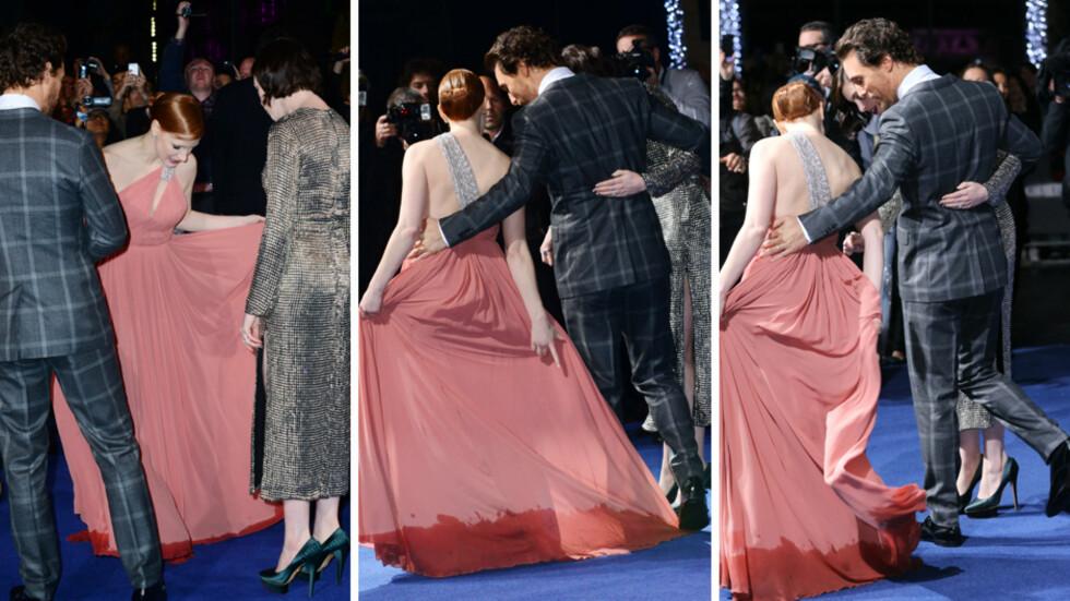 ONE SMALL STEP FOR MAN...; Matthew McConaughey tråkket på Jessica Chastains kjole da «Interstellar»-stjernene møttes på den røde løperen. Foto: All Over Press
