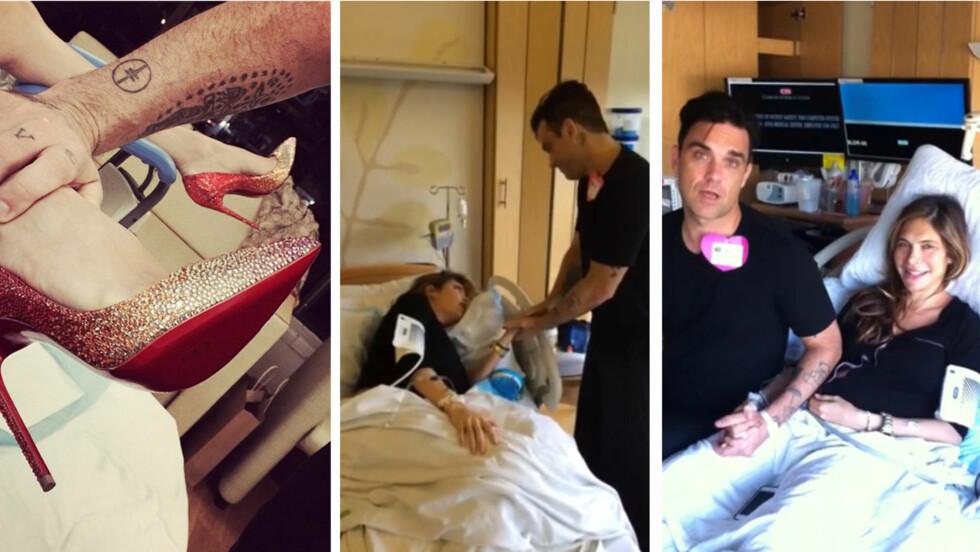 VISTE DET MESTE: Robbie Williams la ut bildet til venstre på sin egen Twitter-side mandag, der Ayda Field ser ut til å være klar til fødsel i høye hæler. Etterpå delte han alt fra fødselen på YouTube.