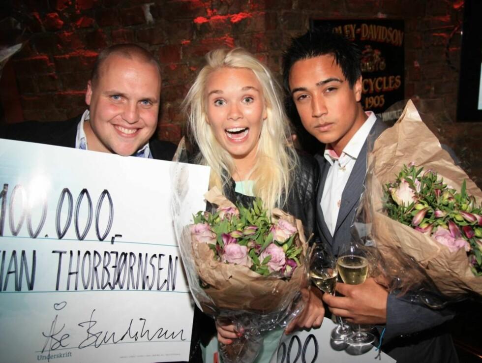 FIKK DELE PREMIEN: Stian fikk dele premien med Vida Lill Gausemel, da hun i 2012 vant «Paradise Hotel». Til høyre deres realitykollega Miguel Kristiansen Foto: Sølve Hindhamar, Seoghør.no