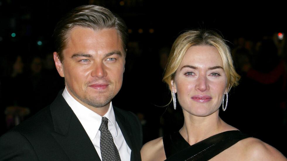 NÆRE VENNER: I 1997 spilte Kate Winslet rikmannsjenta Rose DeWitt Bukater som forelsket seg i fattiggutten Jack Dawson, spilt av Leonardo DiCaprio, i kinosuksessen «Titanic». Det ble starten på to eventyrlige skuespillerkarrierer og et godt vennskap.  Foto: REX/All Over Press
