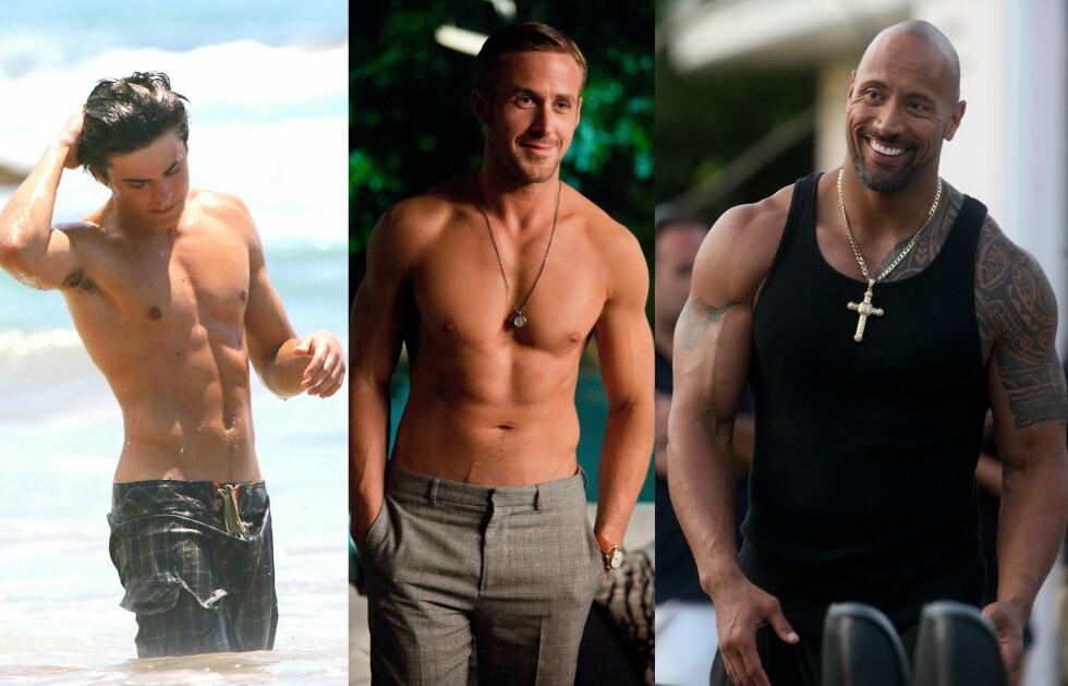 HOTTE: Zac Efron, Ryan Gosling og Dwayne Johnson sverger til sunt kosthold og trening for å opprettholde sine muskuløse kropper. Foto: All Over Press
