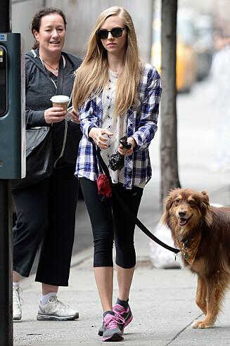 ADOPTERTE: Amanda Seyfried med hunden Finn, på spasértur.  Foto: Doug Meszler / Splash News/ All Over Press