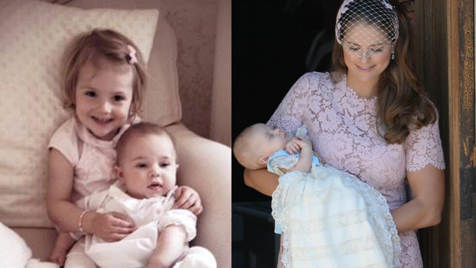 SE SÅ SØTE: Prinsesse Estelle er nøyaktig to år eldre enn prinsesse Leonore, og er åpenbart stolt av sin lille kusine.  Foto: All Over Press