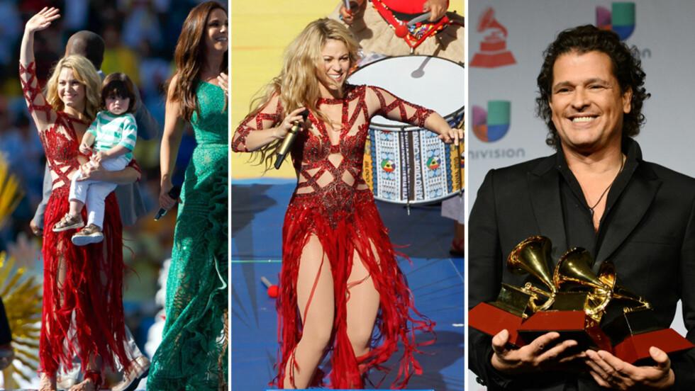OOOPS: Ifølge LaPrensa kom artisten Carlos Vives (t.h) til å avsløre at Shakira, som fra før av har sønnen Milan (ytterst t.v) med Gerard Piqué, venter sitt andre barn. Graviditetsryktene begynte å svirre etter at hun opptrådte før VM-finalen i en flagrende rød kjole som skjulte magen.  Foto: All Over Press/ Stella Pictures