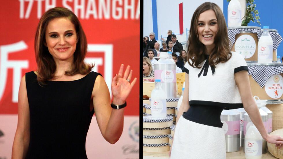 TAR FEIL: Mange roper Natalie Portman (til venstre) etter Keira Knightley (til høyre). Flere ganger har Knightley stilt opp på bilder som Portman. Foto: All Over Press, Stella Pictures
