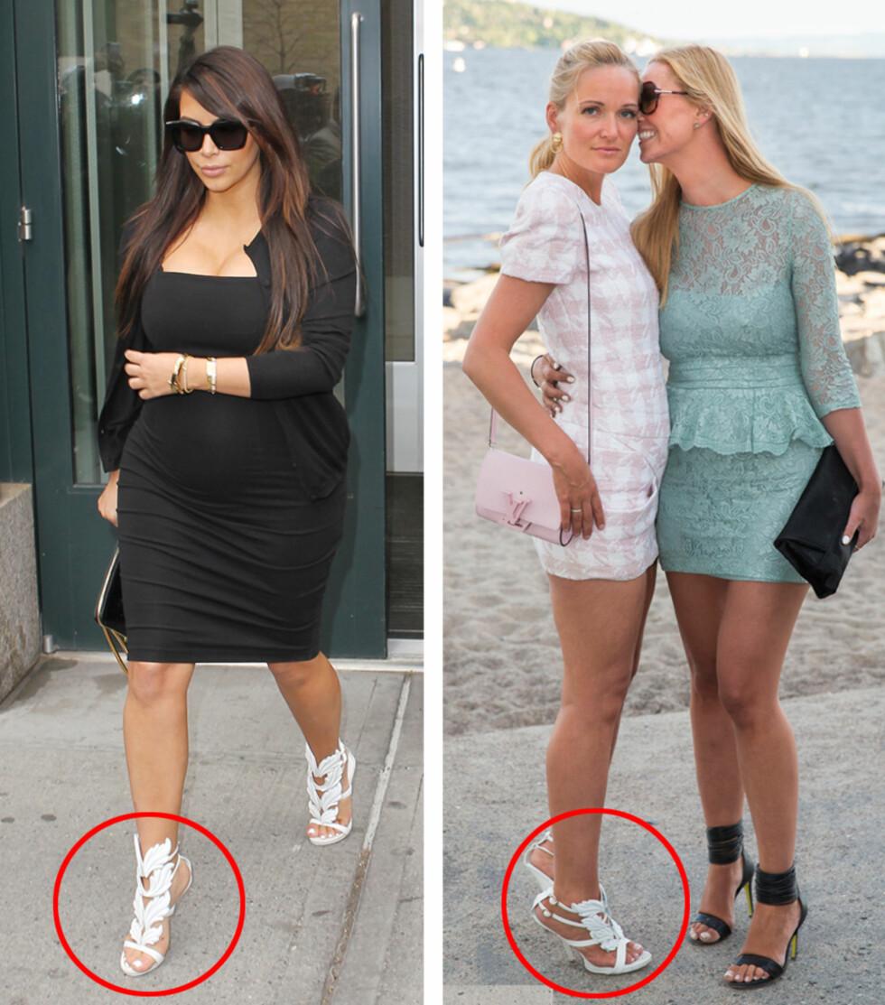 <strong>LIK SMAK:</strong> Kim Kardashian har selvfølgelig de hvite sandalene som er designet av ektemannen Kanye West for Giuseppe Zanotti. Marte Krogh kombinerte Balmain-kjolen med de samme skoene på Elle-festen. Her med butikkinnehaver og stylist Marthe Kveli Valeberg. Foto: All Over/Espen Solli/Se og Hør