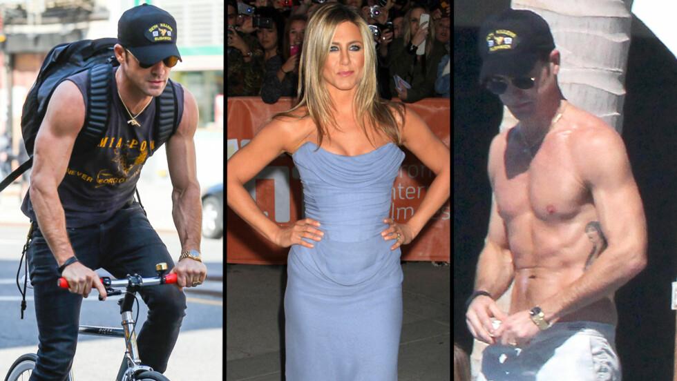 MÅ TRENE MINDRE: Jennifer Aniston synes ikke musklene til Justin Theroux er sexy. Nå ber hun forloveden om å kutte ut vekttreningen. Foto: FameFlynet
