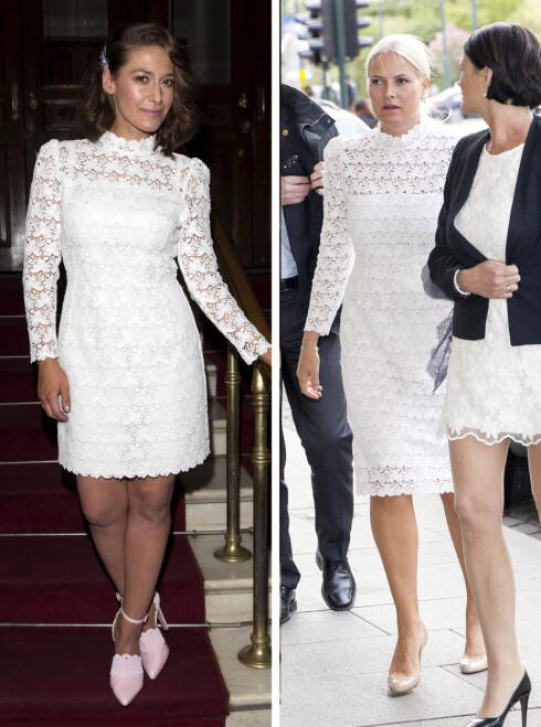 LIK SMAK: Pia Tjelta og Mette-Marit er storforbrukere av hvite blondekjoler. Begge to har «The Lydia Dress» fra by TiMo i klesskapet. Men Mette-Marits variant har lengre skjørt. Foto: Andreas Fadum/Se og Hør