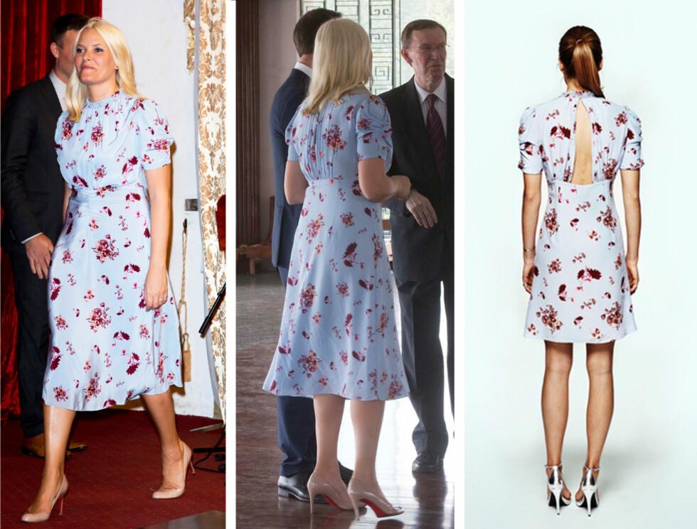I FULL BLOMST: Kronprinsesse Mette-Marit fikk mye oppmerksomhet da hun dukket opp iført en Tjelta-kjole allerede dagen etter at kolleksjonen ble lansert. Det kan se ut som kronprinsessens kjole er spesiallaget til henne. Produktbildet på byTiMos nettside (til venstre) viser nemlig at kjolen egentlig har åpen rygg og kortere skjørt.  Foto: UKpress/by TiMo