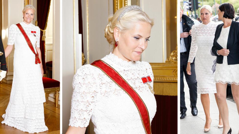 TO VARIANTER AV SAMME KJOLE: Kronprinsesse Mette-Marit har falt pladask for Pia Tjeltas feminine kjoledesign. Til slottsgallaen onsdag hadde hun fått spesialsydd en fotsid variant av blondekjolen hun bar på familieburdag i mai (bildet til høyre). Også ermene har endret til en kortere utgave.  Foto: Svein Brimi