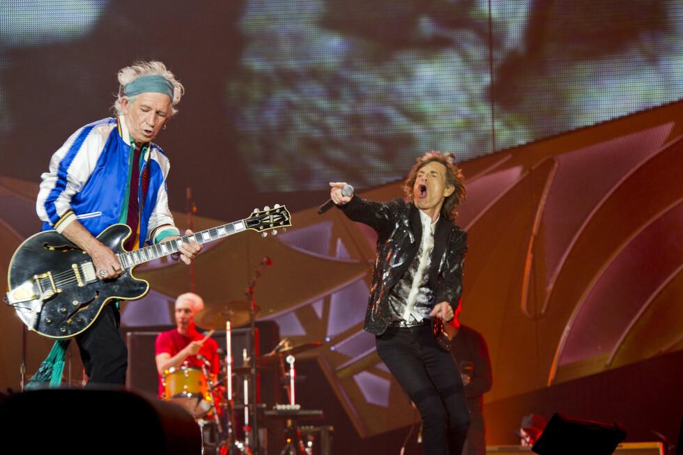 PÅ SCENEN: Keith Richards og Mick Jagger skuffet ikke i Oslo. Foto: All Over Press