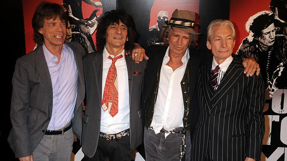 ROCKE-KONGER: (F.v) Mick Jagger, Ronnie Wood, Keith Richards og Charlie Watts holdt et forrykende show i Oslo mandag. Foto: All Over Press