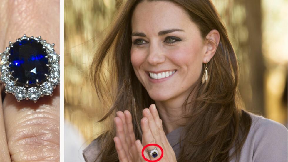 GLITRER: Hertuginne Kate fikk Dianas gamle forlovelsesring da hun forlovet seg med prins William i 2010.