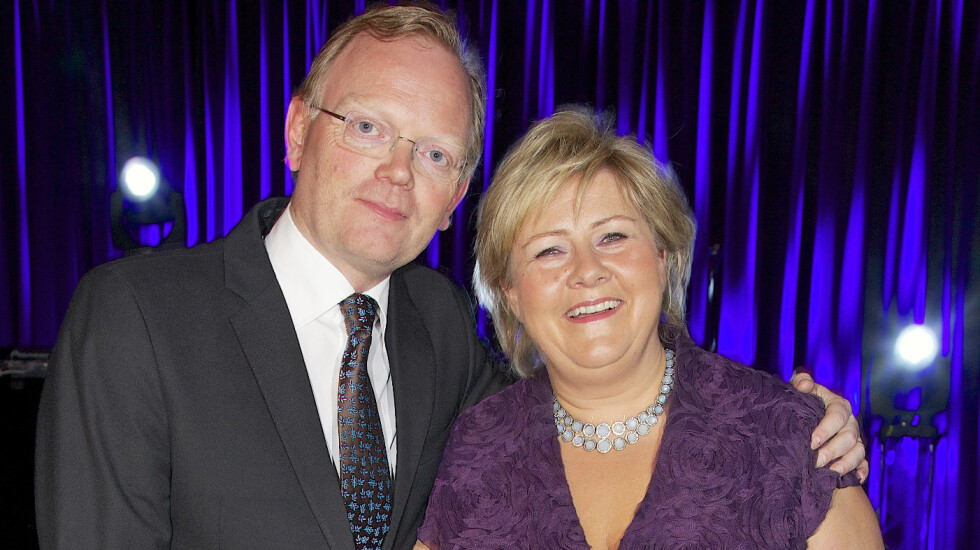 GODT GIFT: Ekteparet Erna Solberg og Sindre Finnes har vært gift siden 1996. Her fra Høyres landsmøtemiddag i Oslo i fjor. Foto: Se og Hør / All Over Press