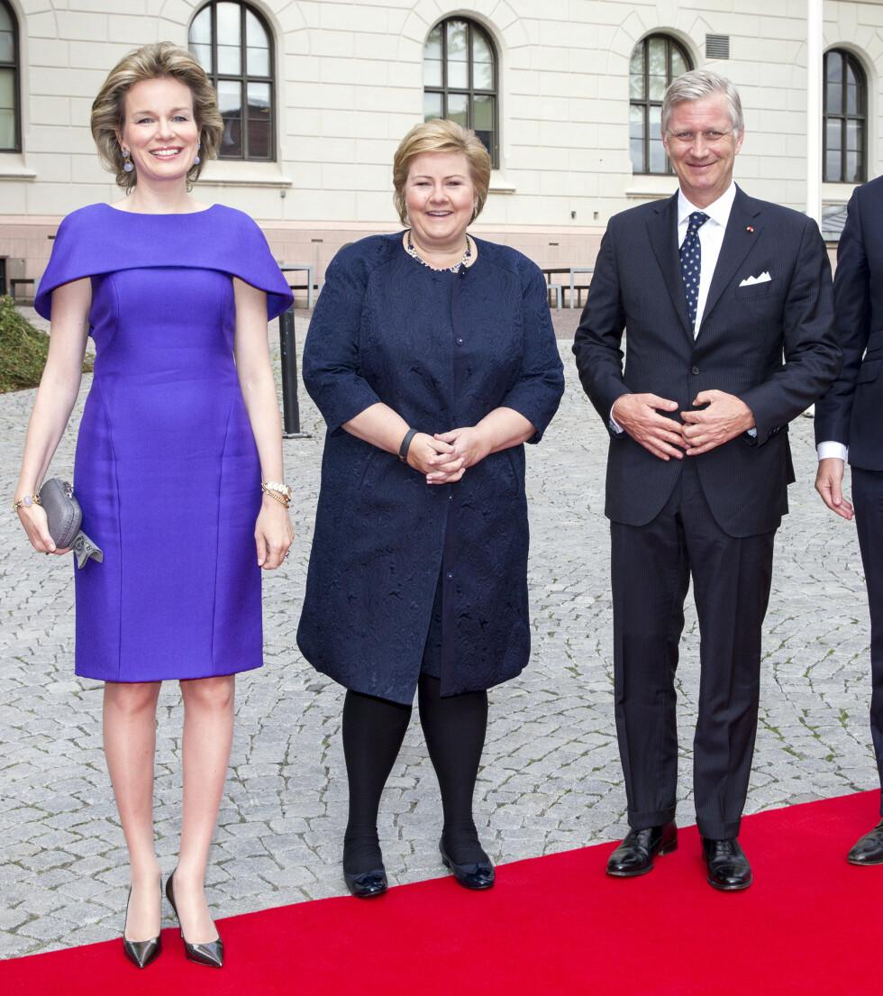 NY I JOBBEN: Det belgiske kongeparet møtte statsminister Erna Solberg. Alle tre forholdsvis nye i jobben sin. Foto: Andreas Fadum