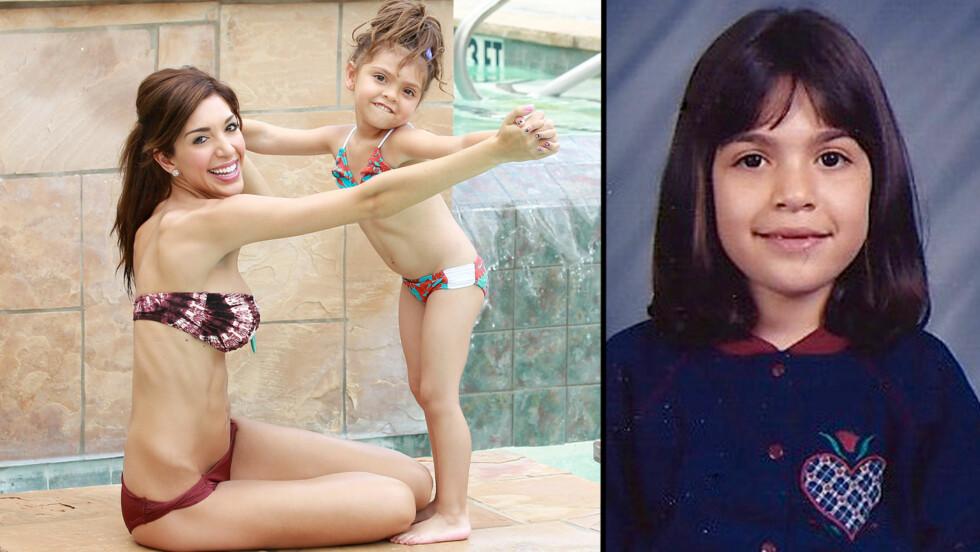 <strong>SJEKK LIKHETEN:</strong> Bildet til høyre viser Farrah Abraham i en alder av seks. Lille Sophia vokser opp til å bli prikk lik sin mor. Foto: All Over Press