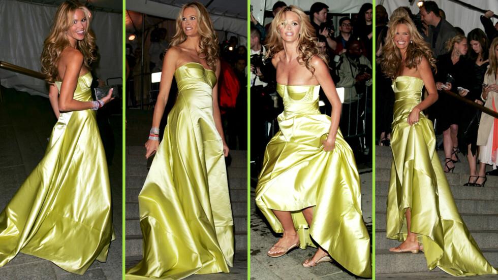 KJOLE OG FLIP-FLOPS: Under Costume-gallaen i 2005 stilte Elle MacPherson i dette antrekket. Hun omtaler det som sitt favoritt-øyeblikk på den røde løperen. Foto: All Over Press