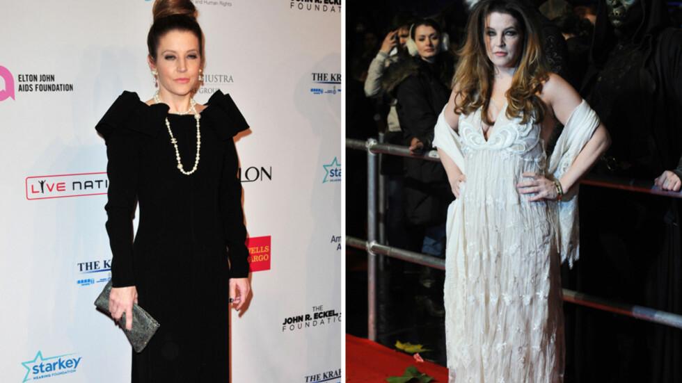STOR FORANDRING: De siste par årene har Lisa Marie Presley gått ned mange kilo. Her (t.v) er hun avbildet i oktober 2013, mens bildet til høyre er tatt i november 2010. Foto: Stella Pictures